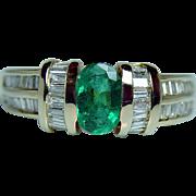 Vintage Emerald Baguette Diamond Ring 14K Gold Designer Signed Estate