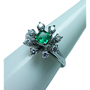 Vintage 14K White Gold Asscher cut Emerald Diamond Halo Ring Estate