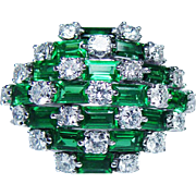 GIA Vintage Emerald 2.8ct Colorless Diamond Ring 14K White Gold Estate Massive