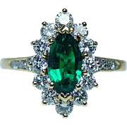 Vintage Clean High End Emerald Diamond Ring 18K Gold Designer KG Signed Estate