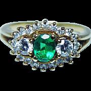 Vintage Kurt Wayne Emerald Diamonds Ring 18K Gold Designer Signed Estate