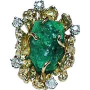 Vintage Spritzer & Fuhrmann Emerald Nugget Old Miner Diamond Ring 18K Gold Heavy circa 1915