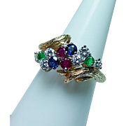 Vintage Kurt Wayne Ruby Sapphire Emerald Diamond Ring 18K Gold Designer Estate