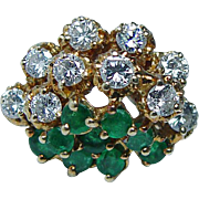 Vintage Emerald Diamond Ring 18K Gold Estate Jewelry