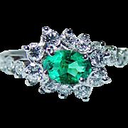 Vintage H STERN Emerald Diamond Halo 18K White Gold Ring Designer Signed Estate