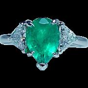 Vintage Platinum Emerald Trillion Diamond 3-Stone Ring Estate GIA Cert