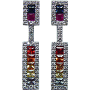 Vintage Princess Sapphire Ruby Rainbow Dangle Diamond Earrings 14K White Gold Estate