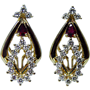Vintage Ruby Diamond Earrings 18K Gold Heavy High Quality Estate Jewelry