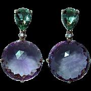 Vintage 18K Rose Gold Diamond Amethyst Long Dangle Earrings Estate Italy
