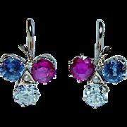 French Antique 18K Gold Old Miner Diamond Sapphire Ruby Earrings DORMEUSES Estate