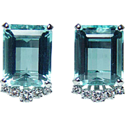 Vintage 18ct Aquamarine Diamond Earrings 18K White Gold Estate Jewelry