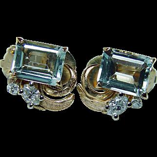 Vintage 6ct Aquamarine Diamond Earrings 18K Gold Estate