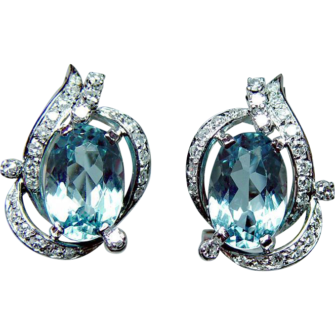 Vintage Aquamarine Diamond Earrings 18k White Gold Estate Hallmarked Luvmydiamonds Ruby Lane