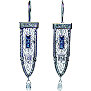 ART DECO European Diamond French Sapphire 14K Gold Filigree Princess Earrings Estate circa 1920