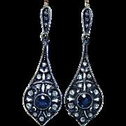 Antique Victorian Rose Diamond Sapphire Dangle Earrings 14K Gold French Estate