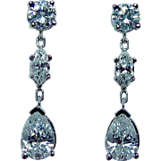 Vintage 1.8ct Pear Marquise Round Diamond Earrings 18K White Gold Estate