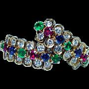 Vintage Ruby Sapphire Emerald Diamond Earrings 18K Gold Estate French Designer ELDE