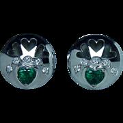 Vintage 18K White Gold Emerald Diamond Heart Earrings Estate Omega