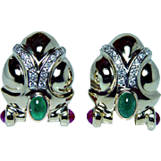 Vintage Emerald Ruby Diamond Earrings 14K Gold Estate Large