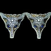 ERTE Vintage Diamond Sapphire Foxes Earrings 14K Gold Russian Designer