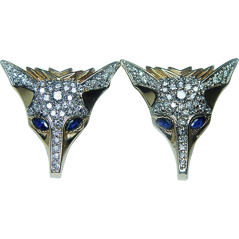 ERTE Vintage Diamond Sapphire Foxes Earrings 14K Gold Russian Designer