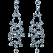 Vintage 18K White Gold Floating Diamond Earrings Designer PARADE 1.20ct