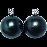 Mikimoto Vintage 9.6mm Genuine Cultured Black Pearl Diamond Earrings 18K Gold Estate BOX