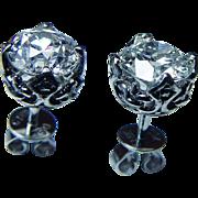 Art Deco 18K White Gold 1.12ct Miner Mine cut Cushion Diamonds Solitaire Stud Earrings GIA