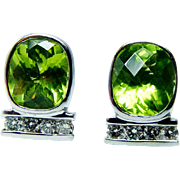 Vintage 5ct Cushion Peridot Diamond 14K White Gold Earrings Estate Jewelry
