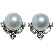 Vintage 8.5mm Genuine Cultured Pearl Baguette Diamond Earrings 18K Gold Estate Jewelry