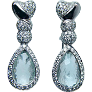 Large Vintage Aquamarine 1.8ct Diamond Earrings 18K White Gold Estate Jewelry
