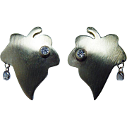 Vintage 18K Gold Diamond Briolette Dangling Earrings Organic Nature Estate
