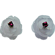 Vintage Rose Flower Earrings with Rubies 14K White Gold Estate