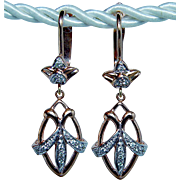 Russian Vintage Soviet Diamond Dangle Earrings 14K Rose Gold Estate Heavy 1.5""