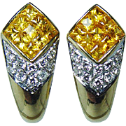 Vintage Fancy Yellow Princess Sapphire Diamond Earrings 18K Gold High End Estate