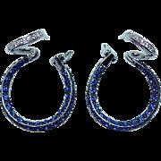 Estate VS-F Diamond Sapphire Hoop Earrings 18K White Gold Inside Out Omega