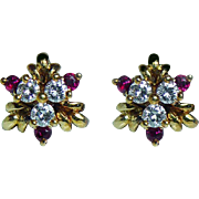 Vintage H Stern Ruby Diamond Earrings 18K Gold Designer Boxed