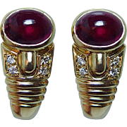 Vintage Rubellite Tourmaline Diamond Earrings 18K Gold Estate