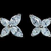 Vintage 1.10ct VS-G Marquise Diamond Victoria Earrings 14K White Gold Estate