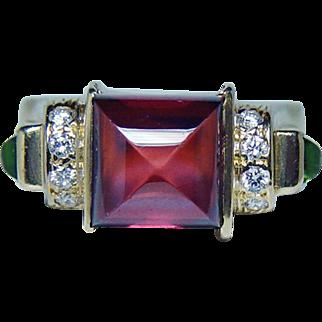 Vintage Designer Rhodolite Garnet Diamond Ring 18K Gold Chris Correia Estate