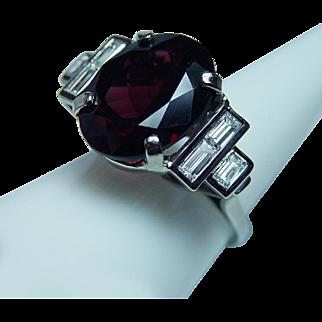 Vintage 9.8ct Flawless Rhodolite Garnet Baguette Diamond Ring 14K White Gold Estate