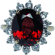Vintage 6ct Rhodolite Garnet Diamond Cocktail Ring 18K Platinum Estate