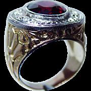 Vintage 8ct Rhodolite Garnet Diamond Ring 18K Gold Carved Heavy Estate 1930s