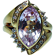 Vintage 18K Gold Kunzite Diamond Ring High Quality Heavy Estate 6.92ct