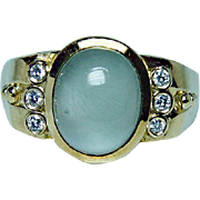 SEIDENGANG SEIDEN GANG Moonstone Diamond Ring 18K Gold Heavy Designer Estate Jewelry