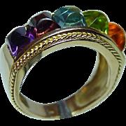 Vintage Amethyst Peridot Tourmaline Topaz Sugarloaf Ring 18K Gold Heavy Estate