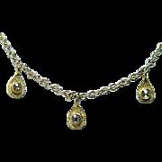 Vintage Rose cut Champagne Diamond Drop Necklace 18K Gold Estate Jewelry