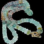 "Fine 500ct Aquamarine Diamond Toggle Clasp 18K Gold Necklace 32"" Opera Length Estate Jewelry"
