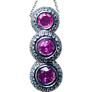 Vintage 14K White Gold 3ct Hot Pink Sapphire Diamond Necklace Estate Jewelry