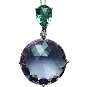 Vintage 18K Rose Gold Diamond Amethyst Long Dangle Necklace Estate